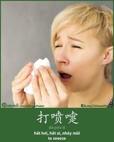 action - 打喷嚏 - dǎ pēn tì - hắt hơi, nhảy mũi - to sneeze