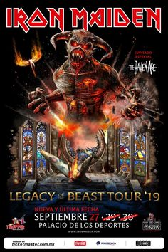Iron Maiden Legacy of The Beast Tour 2019 Poster by Neal Johnson. All posters are professionally printed, packaged, and shipped within 3 - 4 business days. Choose from multiple sizes and hundreds of frame and mat options. Albums Iron Maiden, Iron Maiden Album Covers, Iron Maiden Band, Eddie Iron Maiden, Hard Rock, Heavy Metal Art, Heavy Metal Bands, Bruce Dickinson, Iron Maiden Tickets