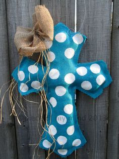 Burlap Cross Burlap Door Hanger Turquoise with by nursejeanneg