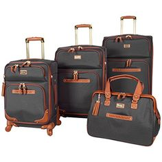 Find Steve Madden 4 piece Luggage With Spinner Wheels (Black) online. Shop the latest collection of Steve Madden 4 piece Luggage With Spinner Wheels (Black) from the popular stores - all in one Cute Luggage, Best Luggage, Carry On Luggage, Luggage Sets, Travel Luggage, Travel Set, Travel Bags, Travel Party, Beach Travel
