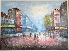 Vtg-Quality-Oil-Painting-Canvas-48-034-Signed-D-Perry-Eiffel-Tower-Paris-Street