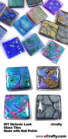 DIY Dichroic-Look Glass Tiles Made with Nail Polish - 16 Most Pinned DIY Nail Polish Crafts and Projects Resin Crafts, Jewelry Crafts, Fun Crafts, Handmade Jewelry, Arts And Crafts, Tile Crafts, Handmade Headbands, Handmade Rugs, Handmade Crafts