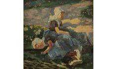 'Zeeuwse meisjes te Domburg' toont twee jonge, ongehuwde protestantse meisjes op het duin, in de traditionele dracht van het eiland Walcheren. ca 1909 Jan Toorop (1858-1928) olieverf. Museum Jan Cunen #Zeeland #Walcheren