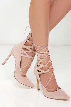 All Shook Up Nude Suede Lace-Up Heels at Lulus.com!