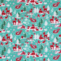 michael miller fabric aqua yule critters deer christmas - Vintage Christmas Fabric