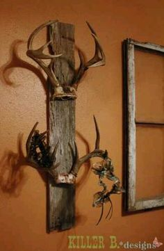 Trophy antlers on old barnwood. Much better way to displays the antlers vs mounting a whole dead deer head on the wall. Would like to make this for my brother Remington room hat rack!