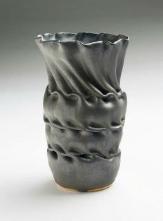 Clark House Pottery - Bill & Pam Clark - Triple fold vase - Gun Metal glaze