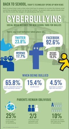 Cyberbullying infographic - why you will NOT be getting a FB or twitter acct ever.