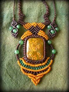 画像1: 海からの贈り物*マダガスカル産オーシャンジャスパー&グリーンアベンチュリンのハンドメイド手編みネックレス*天然石*パワーストーン*マクラメ