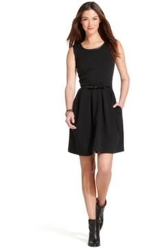 e506279c Tommy Hilfiger Sleeveless Pleather-Trim Belted A-Line Dress Tommy Shop, Lbd,