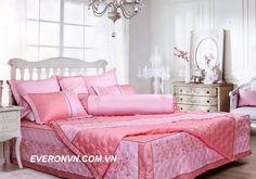 bộ chăn ga gối es 1211 màu hồng cho tình yêu thêm nồng nàn