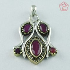 TWO TONE RUBY AGATE & CUBIC ZIRCONIA STONE 925 STERLING SILVER PENDANT PN4795 #SilvexImagesIndiaPvtLtd #Pendant