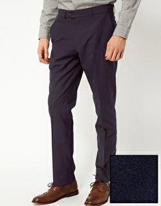 ASOS Slim Fit Smart Trousers in Navy