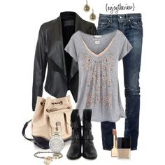 jeans & a t-shirt, created by enjoytheview on Polyvore