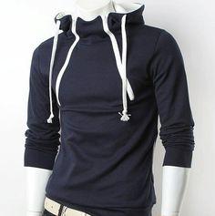 stand-up collar pullover men's hoodies double zipper
