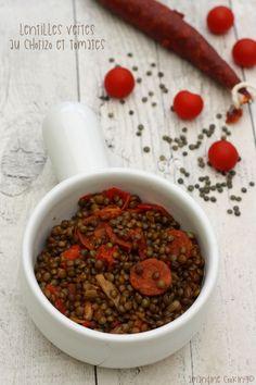 Lentilles vertes au chorizo, poivron et tomates
