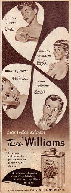 Propaganda do Talco Williams para toda a família. Veiculada nos anos 50 na… Vintage Advertisements, Vintage Ads, Nostalgia, Lifebuoy, Old Ads, Vintage Market, Medicine, Old Things, Advertising