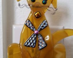 Whimsical Dog Fused Glass Night Light with by KelticFyre on Etsy