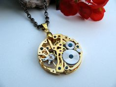 Pocket Watch Steampunk Necklace - Victorian Era Golden Mechanical via Etsy.