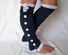 Navy blue cable knit slouchy open button down leg warmers over the knee socks boot socks valentines day gifts birthday gifts on Etsy, $34.00