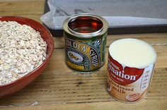 Rolled Oats, Golden Syrup And Condensed Milk - Main Ingredients For The Flapjacks
