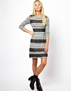 ASOS Knit Skater Dress With Lace Detail #workappropriate