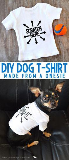 How to make a DIY Dog T-Shirt from a onesie at artsyfartsymama.com