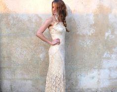 Antique 30s lace wedding dress- 1930s silk lace wedding dress- champagne sheer bias cut floor length dress- small/medium