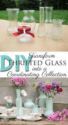 DIY: Thrifted Glass into Coordinating Collection - perfect party decor or arrangement by Prodigal Pieces for Best Laminate www.prodigalpieces.com #prodigalpieces: