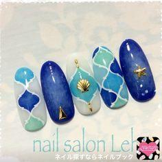 ネイル デザイン 画像 1527839 緑 青 白 シェル スターフィッシュ タイダイ 春 夏 リゾート 海 ハンド ミディアム Sea Nails, Blue Nails, Sculpted Gel Nails, Vacation Nails, Kawaii Nails, Japanese Nail Art, Latest Nail Art, Toe Nail Art, Nail Art Hacks