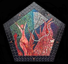 """Fire Dance"" glass mosaic by Jane Russell, depicting the joy of burn night at Burning Man at Black Rock City, Nevada."