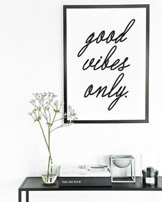 Good Vibes Only  Typography Poster  Black and by honeymoonhotel