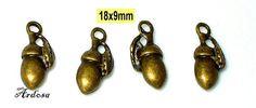 4 Anhänger Eichel mit Blatt Bronze 18x9mm  von Schmuckmaterial