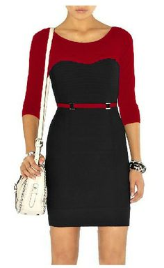 Karen Millen Contour Stitch Knit Dress Red&Black - suit-dresses.com - $89.34