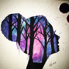 I think I'll try something like this someday Watercolor Drawing, Watercolor Paintings, Art Sketches, Art Drawings, What To Draw, Picasso, Autumn Leaves, Amazing Art, Cool Art