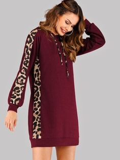 Contrast Leopard Print Drawstring Hoodie Dress Check out this Contrast Leopard Print Drawstring Hoodie Dress on Shein and explore more to meet your fashion needs! Long Sleeve Short Dress, Short Dresses, Dress Long, Fall Dresses, Cheap Dresses, Mode Hijab, Sweatshirt Dress, Latest Dress, Hooded Sweatshirts