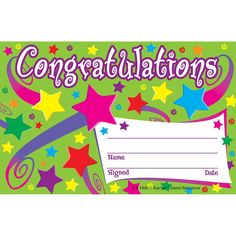 Congratulations Awards Large Swirl Certificate Pack  Certificate