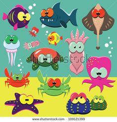 Set of cartoon funny sea animals: fishes, octopuses, crabs, sea-stars. - stock vector