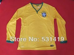 Brazil 2014 World Cup Long Sleeve Jersey Shirt Best Thai Quality Neymar Home Yellow Soccer Jersey Dry Fit Free Shipping $29.89 - 30.89