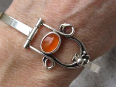 Carnelian Floral Hinged Bracelet | Amy Taylor | Hinged Jewelry