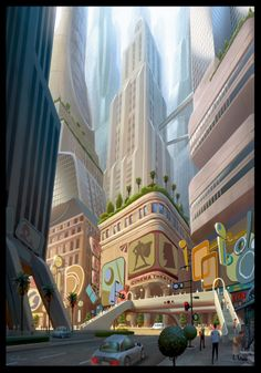 Living Lines Library: Megamind - Concept Art, Visual Development Erwin Madrid City Background, Cartoon Background, Animation Background, Environment Concept Art, Environment Design, Game Environment, Bg Design, Anime City, Perspective Art