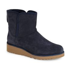 UGG Australia 'Kristin - Classic Slim' Water Resistant Mini Boot, 1... ($160) ❤ liked on Polyvore featuring shoes, boots, ankle booties, ankle boots, navy suede, pull on boots, short boots, navy ankle boots, platform ankle boots y navy blue booties