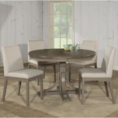 Clarion Five Piece Round Dining Set w/ Upholstered Chairs - Hillsdale Furniture Round Wood Dining Table, Round Dining Set, Kitchen Dining Sets, 7 Piece Dining Set, Dining Room Sets, Dining Room Table, Round Kitchen, Space Kitchen, Kitchen Ideas