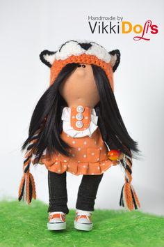 Текстильная кукла Интерьерная кукла Кукла ручной работы Декор Лисичка Подарок Мягкая игрушка Кукла из ткани Авторская кукла Тильда Шапочка by VikkiDoLis on Etsy