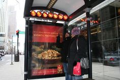 Kraft Heated Bus Shelter in the USA - Kraft gave samples of a new variety of Stove Top, called Quick Cups, to commuters and passers-by at half of the heated shelters.
