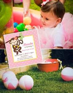 Mod Monkey Party Theme....Tatiana's monthly pics & baby book are mod monkey themed