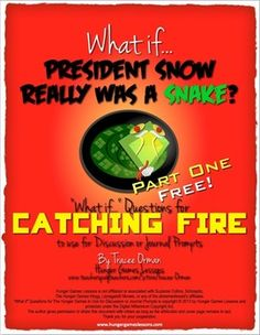 """Catching Fire FREE """"What If"""" Journal Discussion Prompts Part One """"What if President Snow had gone to Peeta first and told him about Katniss and Ga. Creative Thinking Skills, Critical Thinking, Teacher Blogs, Teacher Hacks, Teacher Stuff, What If Questions, This Or That Questions, President Snow, Teaching Resources"""