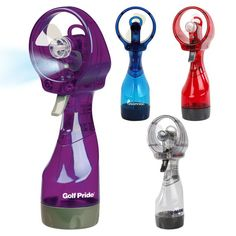 """Add a steady """"stream"""" of promotional prowess to your next event with this Deluxe Mist Fan! With US Patent numbers 5,338,495; D553,227; 7,806,388; and 7,810,794A, this hand-held spray fan features a built-in water mister. It has incredible cooling power and a leak-proof water chamber with a clean, translucent look. This fan requires 2 AA batteries. This fan holds 12 oz. and gives approximately 1,500 sprays. Invest in this """"handy"""" item today!"""