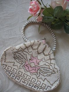 Vintage 1920's Beaded Purse  Wedding Tea by WhenRosesBloomShop