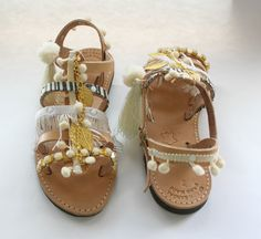 Pom pom sandals/ white  sandals /boho sandals/greek by JustBoho